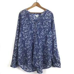 Old Navy Blue Floral Button Down Blouse, XXL